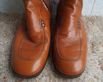 Mens Leather Dress Boots - Brown Leather - Vintage - 7.5