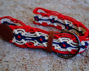Vintage Red White And Blue Woven Belt