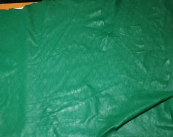3 pcs GREEN distressed  baclava pattern pinhole  perforated engraved distressed lamb  skin hide leather DE18