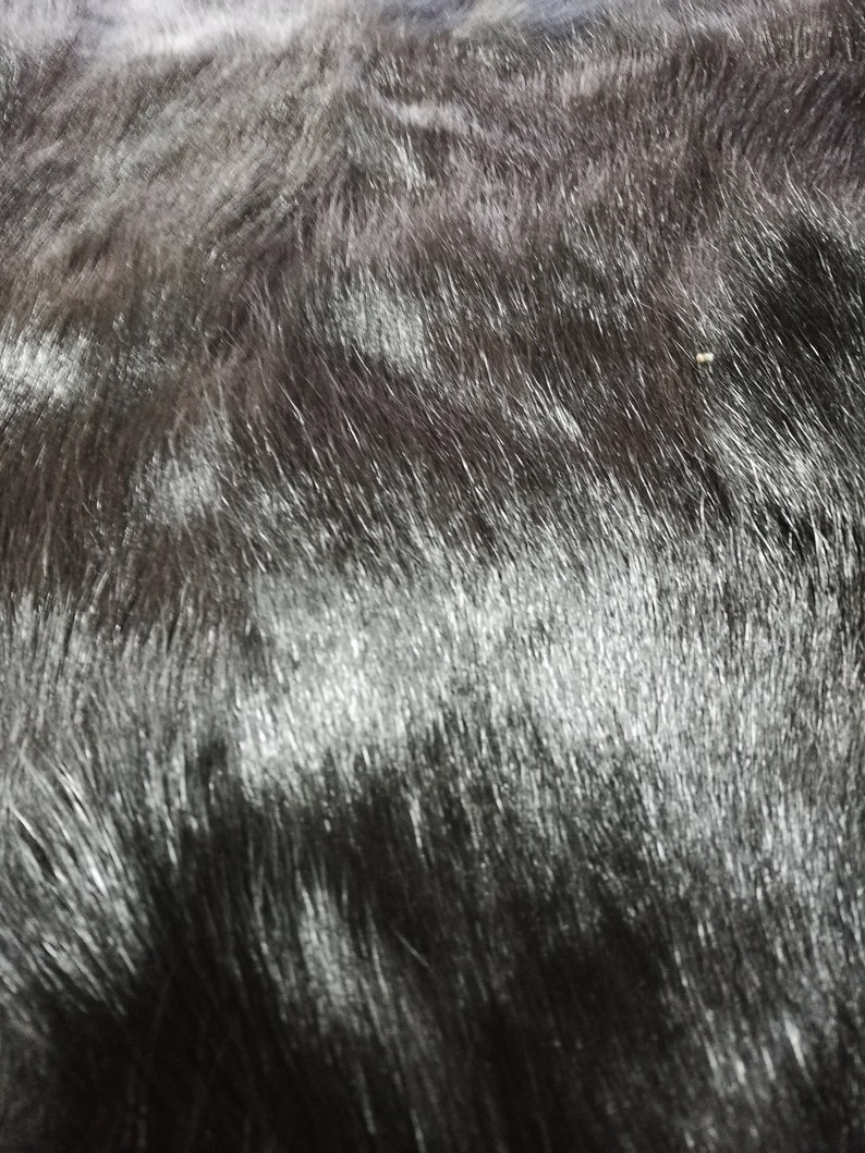 BLACK hair on patchwork  Goat skin pelt  hide leather HU18