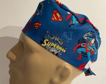 surgical //medical cap tieback style DC Comics Justice League SUPERMAN Logo