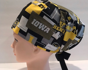 official photos 11a86 ad366 Women s Surgical Scrub Hat~Euro Style~University of Iowa~Hawkeyes~Herky the  Hawk