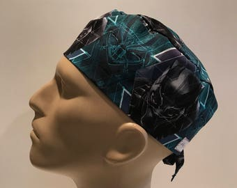 Men s Surgical Scrub Hat with Ties~Black Panther~Marvel Comics~T Challa~King  of Wakanda d3ab5aa7310