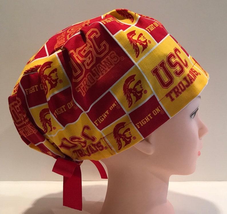 Surgical Scrub Hat Made W Southern California University Trojans Fabric Skull ER