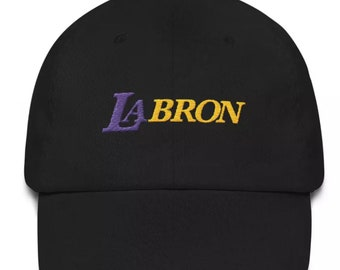 Lebron James LAbron Los Angeles Lakers LA Embroidered Dad Hat Strap Back Cap  Black