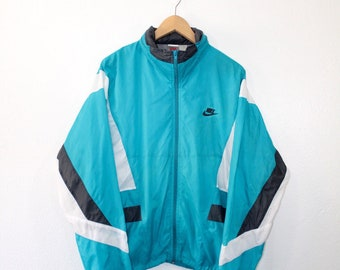 401948a7d2 Vintage 80s 90s Nike Air Swoosh Hooded Windbreaker Jacket Size Large Light  Blue Grey White Nike Grey Tag Retro