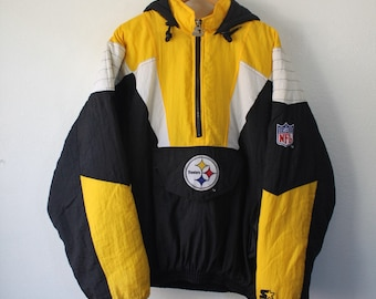 685fe27f5 Vintage 90s Pittsburgh Steelers Hooded Pullover Jacket By Starter Pro Line  Size XL NFL Football Black Yellow