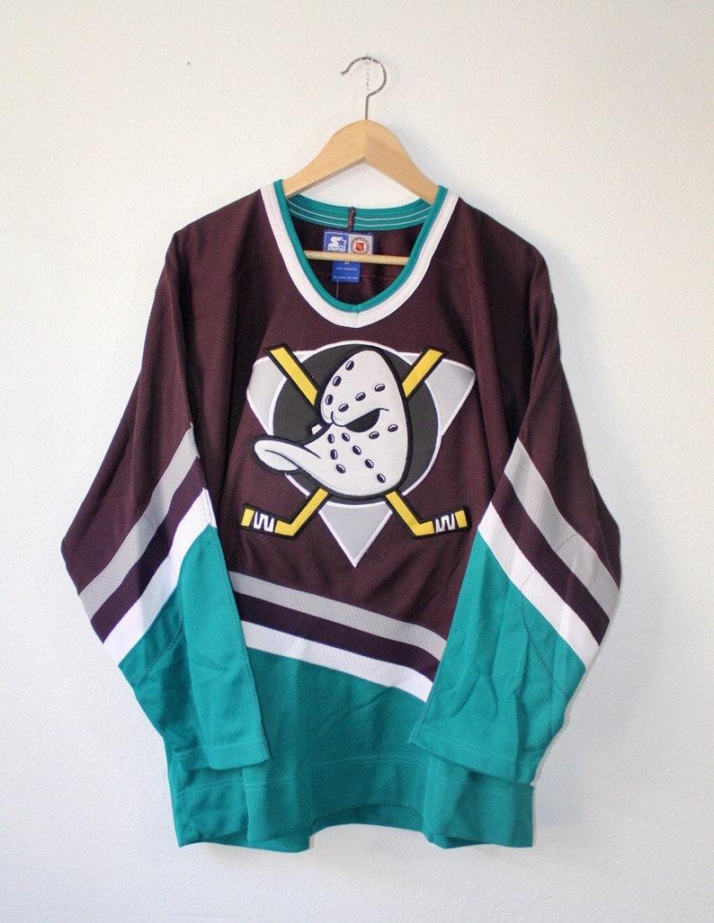 detailed look 26f4d c43e7 NEW Vintage 90s Original Anaheim Mighty Ducks Hockey Jersey by Starter Size  Medium Disney Era OG throwback