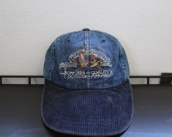 Vintage 90s Polo Sportsman Ralph Lauren Long Bill Denim Corduroy Hat size  Large b66c27f7c4d