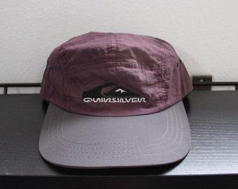 Vintage 90s Quicksilver 6 Panel Snapback Hat Cap Made in USA Surf Surfing maroon grey black