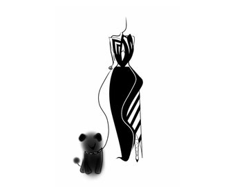 Lady with dog/ Wall Hanging/ Room Decor/ Art