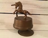 Vintage brass unicorn music box Collectible music box Birthday gift Little girl gift