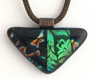 Glass necklace, Fused glass pendant, Stained Glass Look Triangle Pendant , Nantucket pendant, dichroic glass pendant