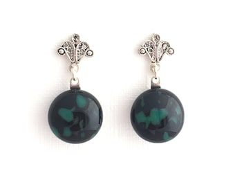 Black and green earrings, Fused glass earrings, sterling silver earrings, Nantucket earrings, glass jewelry, gift for her