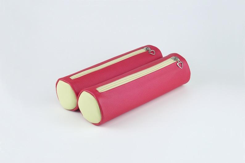 Soft PU Leather Pencil Case Minimalist Columnar Toiletry Kit image 0