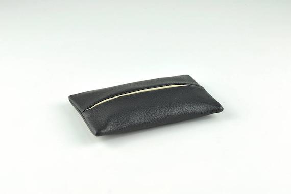 Pocket Tissue Holder Genuine soft Leather Klennex case Hankerchiefs UK