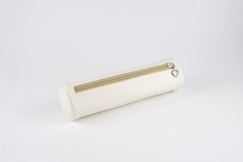 Minimalist Soft PU Leather Pencil Case Pen Pouch Columnar image 0