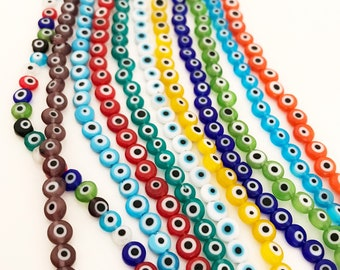 Evil eye beads, 6mm to 12mm glass beads, flat round beada, strand of 35 to 65, lampwork evil eye glass, evil eye jewelry, diy eye supply