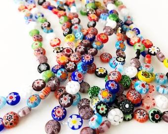 78263ca3b53e 60 pcs Millefiori flat coin glass beads, italian floral beads, strand  millefiori flat round glass beads, boho multicolored millefiori beads