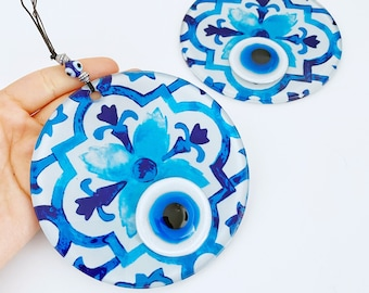 Evil Eye Wall Decor, Fused Glass Evil eye Bead, Handmade Glass Evil Eye Wall Hanging, Blue Evil Eye, New Home Gift, Patterned Wall Decor