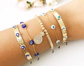 Evil eye bracelet, bangle bracelet, cuff bracelet, evil eye beaded bracelet, pineapple gold bracelet, blue evil eye, evil eye jewelry