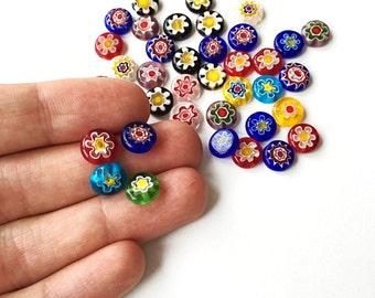 10mm 8mm millefiori flat coin glass beads, 35-45 pcs evil eye flat round glass beads, italian floral beads, evil eye strand millefiori