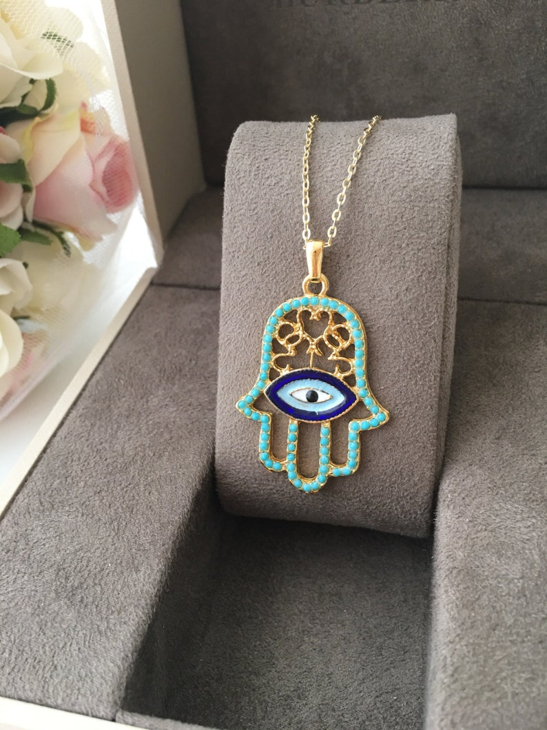 turquoise bead hamsa necklace evil eye necklace evil eye jewelry gold plated necklace hamsa hand necklace Hamsa Evil eye necklace