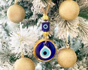 Evil eye wall hanging, christmas tree decoration, gold evil eye bead, evil eye home decoration, christmas tree ornaments, home decoration