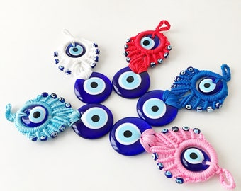 Evil eye wall hanging, evil eye home decor, macrame wall hanging, blue evil eye bead, evil eye decor, large evil eye bead, turkish evil eye