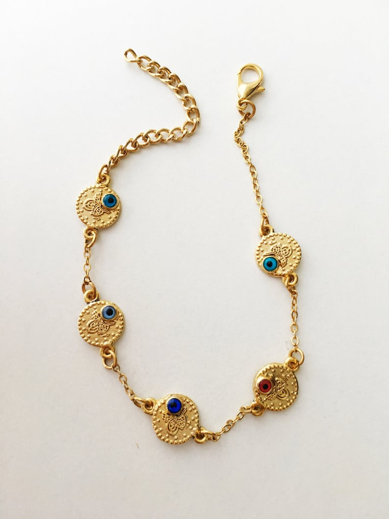 jewelry for mothers evil eye bead bracelet gold evil eye bracelet FREE SHIPPING gold evil eye jewelry Evil eye chain bracelet