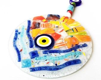 mosaic wall art, mosaic evil eye wall hanging, evil eye ornament, lampwork turkish evil eye, fish wall hanging, evil eye decor, nazar boncuk