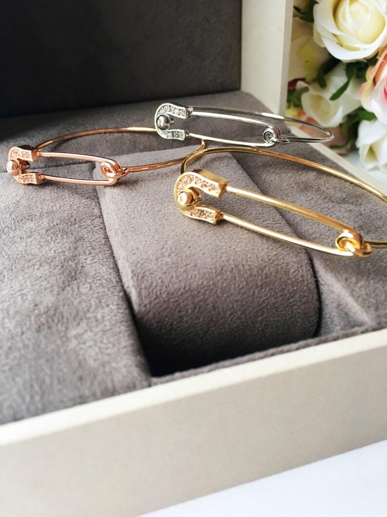 Gold safety pin bracelet silver safety pin bracelet bangle bracelet safety pin safety pin bangle bracelet rose gold safety pin jewelry