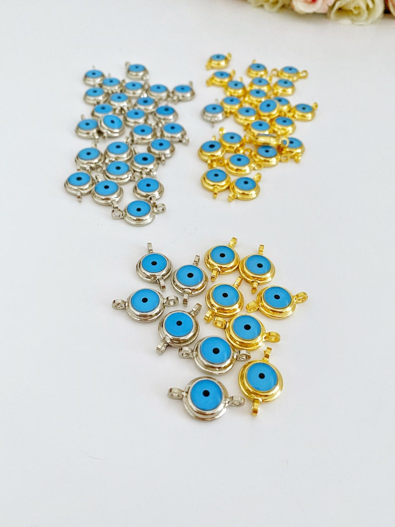Gold Evil Eye Beads Turkish Evil Eye Supply Evil Eye Bracelet 1 to 100 pcs Brass Evil Eye Charm Blue Evil Eye Evil Eye Connectors
