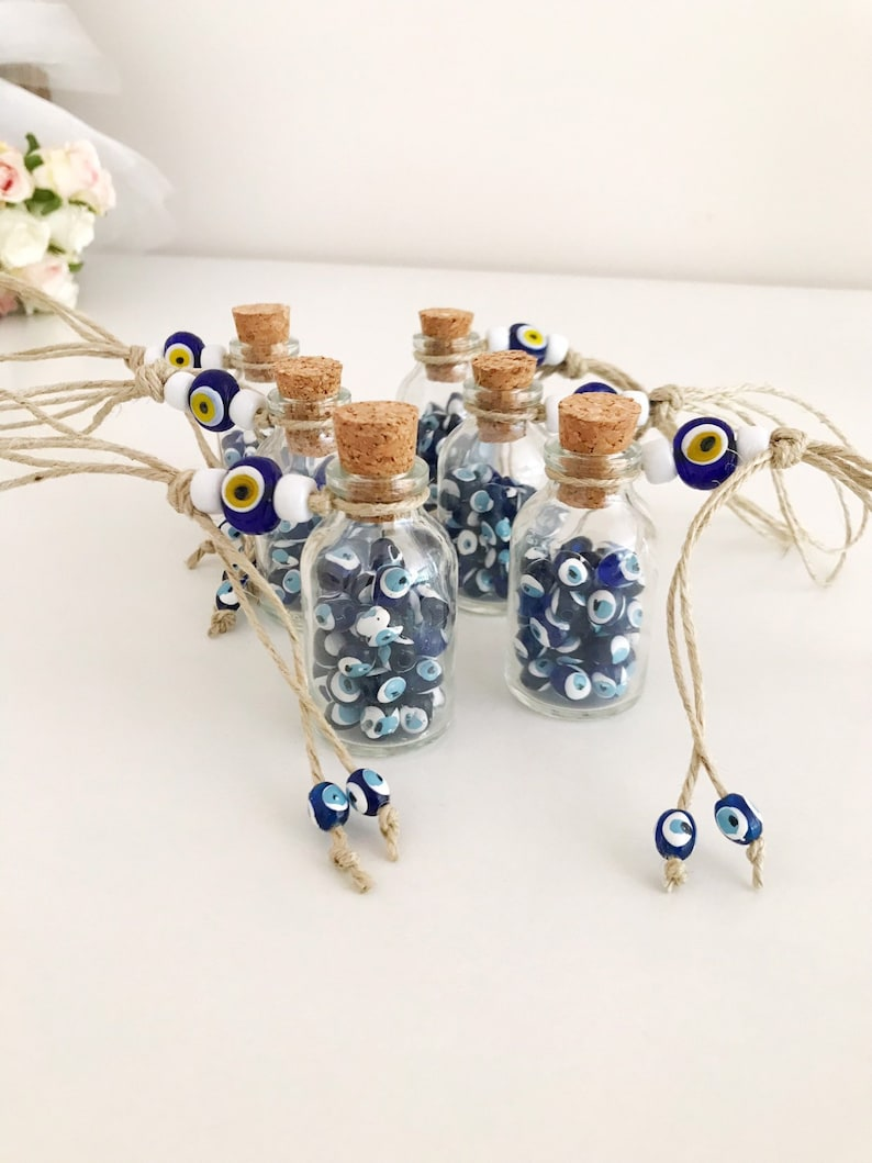 rustic wedding favor cork bottle favors eye Wedding favors for guests mini bottle wedding favors greek wedding favors evil eye beads