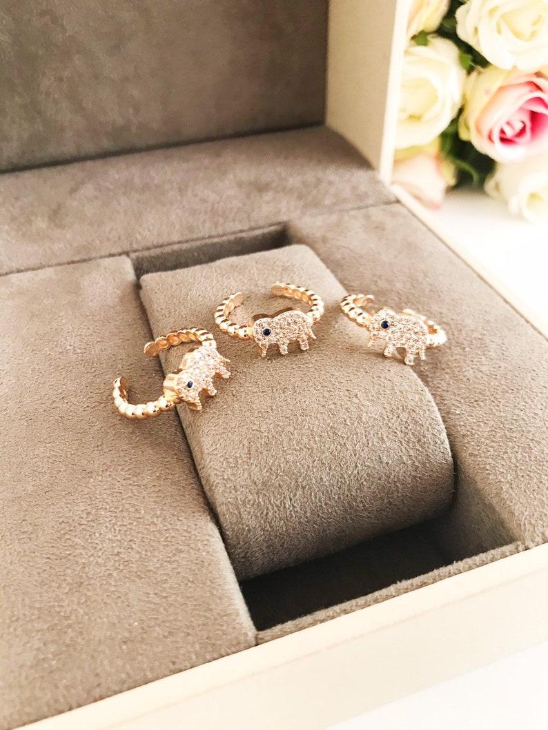rose gold jewelry charm ring zirconia ring Elephant ring good luck jewelry minimalist ring adjustable ring elephant evil eye ring