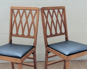 Vintage Leg O Matic Chair   Wood Folding Chairs   Upholstered Folding Chairs