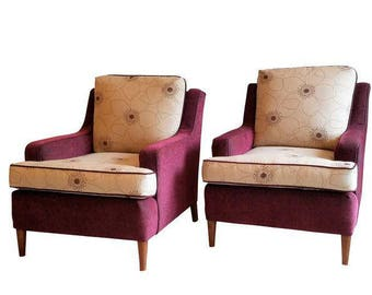 Upholstered Armchairs   Vintage Club Chairs   Chair Pair