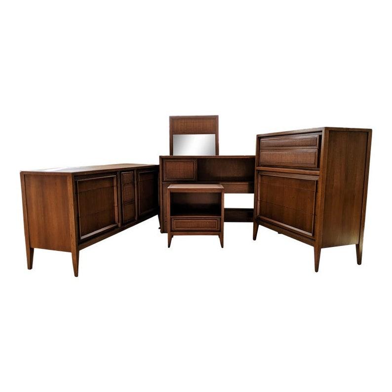 Mid-Century Bedroom Set by Century Furniture - Triple Dresser, Highboy,  Nightstand, Headboard and Mirror