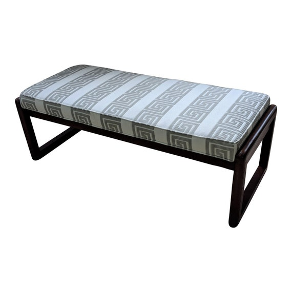 Remarkable Grey And White Greek Key Upholstered Bench Modern Bench Pabps2019 Chair Design Images Pabps2019Com