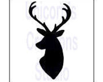 Deer Head(2) Stencil - Scrapbooking, Fabric Painting, Airbrushing, Wall Decor, Furniture Stencil, Glass/Enamel Powder Sifting, Polymer Clay