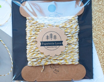 Gold Twine, Bakers Twine, Christmas Gift Wrap, Gift Wrapping,Gold and White,Gold Party Favors,Gold Decorations,Food Packaging
