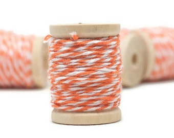 Bakers Twine, 20 yards, Mini spools, Orange Bakers Twine, Set of 2, Wooden Spools
