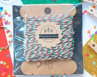 Christmas Twine, Christmas Gift Wrap, Gift Wrapping,Red White and Green,Christmas Party Favors,Christmas Decorations,Food Packaging