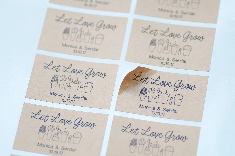 10 Let Love Grow, Stickers, Seed Packet, Kraft Labels, Wedding ...