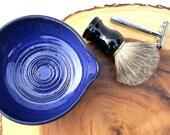 Shave Bowl, Lathering Bowl, Blue Shaving Bowl, Artisan Shave Bowl