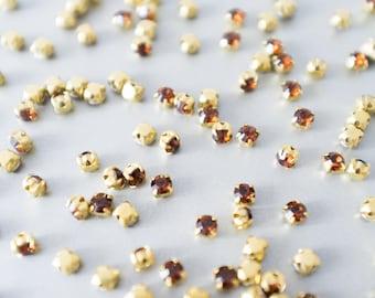Swarovski wędzone kryształy topaz, ustawienie mosiądzu, kryształy Swarovski w ustawieniu, Swarovski Fancy Stones OS18, Swarovski Xilion Chaton-LL1873