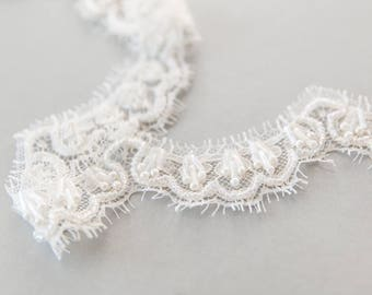 Ivory Beaded Scalloped Lace Trim, Beaded Lace Edge, Bridal Veil Lace Trim, Ivory French Lace Trim - LL1822