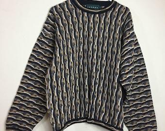 Tundra Canada Mercerized 100% Cotton Sweater 3D Men's Size L Crewneck Hip Hop
