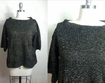90's Vintage Black Gold Sparkle Lurex Threading Boat Neck Sweater Size Medium