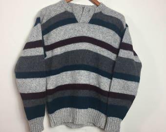 1980's VTG Men's Sweater - Size Medium - Striped Wool Grey Indie Pullover